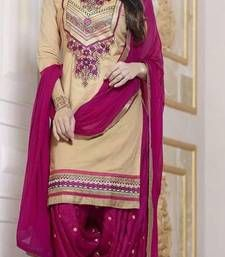 Buy Brown cotton embroidery semi stitiched salwar with dupatta party-wear-salwar-kameez online