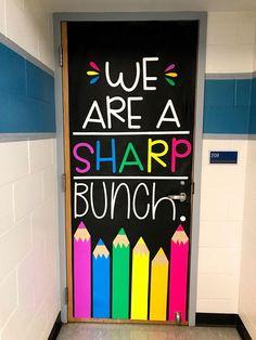 Classroom Door Idea: We are a Sharp Bunch! Fun Classroom decor idea for Elementary Classrooms. Kindergarten Classroom Decor, Diy Classroom Decorations, Classroom Door, Classroom Design, Classroom Themes, Teacher Door Decorations, Teacher Doors, School Doors, Room Doors