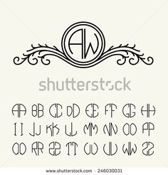 Set template letters to create monograms of two letters in scribed in a circle. Elegant line art logo design in Victorian Style - stock vector Monogram Template, Monogram Design, Monogram Fonts, Monogram Letters, Lettering Design, Typography Prints, Self Branding, Corporate Branding, Logo Branding