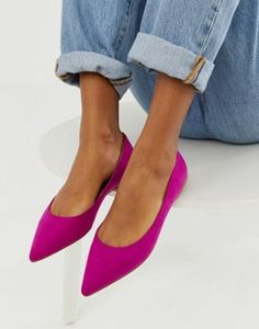Shop ASOS DESIGN Latch pointed ballet flats in fuchsia. With a variety of delivery, payment and return options available, shopping with ASOS is easy and secure. Shop with ASOS today. Pointed Ballet Flats, Ballet Flats Outfit, Pointed Flats Outfit, Pink Flats, Pink Flat Shoes, Purple Shoes, Studded Heels, Fuchsia, Pumps