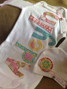 Personalized baby gown and hat by craftycheetah on Etsy