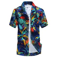 Mens Aloha Beach Floral Plus Size Quick Dry Loose Casual Haw