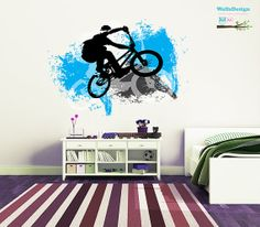 Hey, I found this really awesome Etsy listing at https://www.etsy.com/listing/177144765/bmx-cyclist-wall-decal-children-nursery