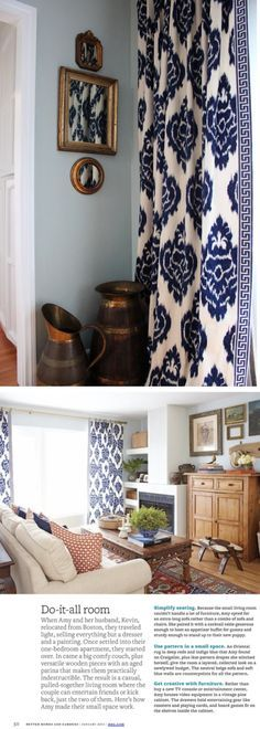 Navy-Ikat-Curtains-via-Amy-Meier-Design Also like the frames on the side wall