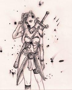 Woman in fantasy armor; sketch https://www.facebook.com/rysunki.nierealistyczne.dorkaart/