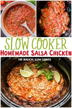 This Slow Cooker Homemade Salsa Chicken is tender and flavorful. This recipe makes plenty of extra salsa for topping the tacos or burritos! - The Magical Slow Cooker Slow Cooker Recipes, Crockpot Recipes, Chicken Recipes, The Magical Slow Cooker, Salsa Chicken, Homemade Salsa, Crock Pots, Dutch Oven, Cooking