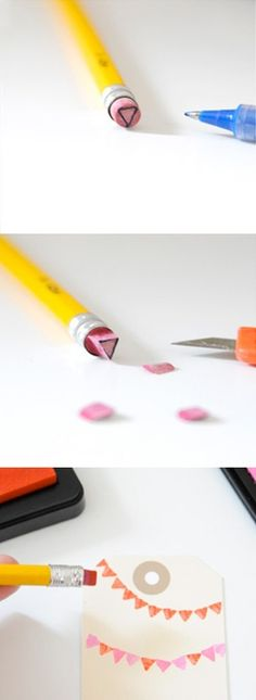DIY stamps with pencil eraser Diy Projects To Try, Crafts To Do, Craft Projects, Crafts For Kids, Arts And Crafts, Craft Ideas, Diy Stamps, Homemade Stamps, Custom Stamps