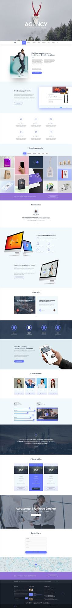 Wilkins is a clean and modern design multipurpose #PSD #template for creative agency #website with 18+ niche homepage layouts and 61 layered PSD files to download & live preview click on image or Visit  #webdesign