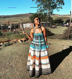 African Maxi Dresses, African Dresses For Women, Seshweshwe Dresses, South African Traditional Dresses, Traditional Outfits, Traditional Weddings, Xhosa Attire, African Attire, African Inspired Fashion