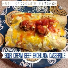 I used this sauce, low carb tortillas, monterey jack cheese and chicken to make Chicken enchiladas and my family actually preferred this sauce over my old one made with flour.  Instead of using the jalapeno pepper I used 2 cans of green chiles.  Was not hot or spicy, just right.  Sour Cream Beef Enchiladas - Mrs. Criddles Kitchen