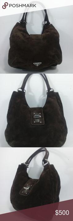4c2dc15ff43 PRADA Brown Suede Leather Hobo Flap Bag PRADA Made in Italy Hobo Bag (11