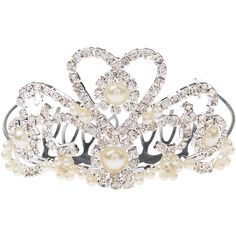 Monsoon Anna Pearly Diamante Tiara Comb ($7) ❤ liked on Polyvore featuring accessories, hair accessories, jewelry, beaded hair combs, pearl tiara, hair comb, pearl hair comb and tiara comb