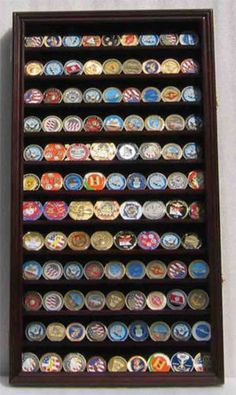 Large 108 Military Challenge Coin Display Rack Case Cabinet Wall Rack - NEW Challenge Coin Display Case, Challenge Coin Holder, Belt Buckle Display, Military Shadow Box, Military Challenge Coins, Brass Hinges, Antique Coins, Wall Racks, Wall Shelves