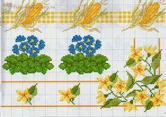 "ru / Los-ku-tik - Album ""A Punto croce Bordyurchiki grande. 123 Cross Stitch, Cross Stitch Borders, Cross Stitch Flowers, Cross Stitching, Cross Stitch Embroidery, Cross Stitch Patterns, Crochet Patterns, Small Flowers, Yellow Flowers"