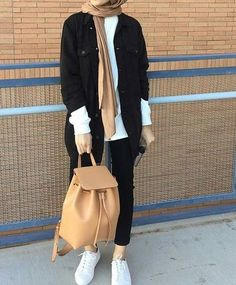 Nice Awesome Hijab with backpack-Elegant and modern hijab fashion looks – Just Trendy Girls... Check more at http://myfashiony.com/2017/awesome-hijab-with-backpack-elegant-and-modern-hijab-fashion-looks-just-trendy-girls/