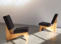 Cees Braakman pair of FB03 lounge chairs Combex series.