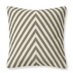 "Williams Sonoma $119 Herringbone Needlepoint Pillow Cover, 16"" X 16"", Gray/White"