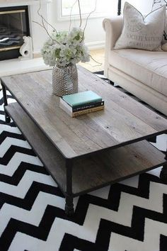 rustic & contemporary: coffee table and rug Living Room Inspiration, Home Decor Inspiration, Decor Ideas, Decorating Ideas, Color Inspiration, Home Living Room, Apartment Living, Cozy Apartment, Rustic Apartment