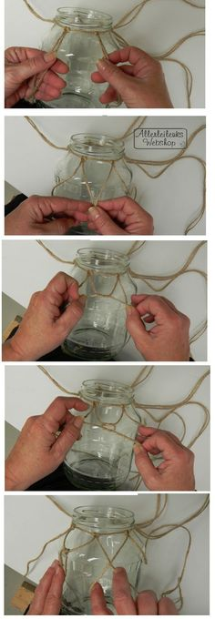 ZELFMAAKIDEE Lantaarn van recycle pot met macrame touw - allerleileuks.nl Diy Crafts To Do, Diy Projects To Try, Home Crafts, Recycling, World Crafts, Crochet Decoration, Plant Hanger, Diy For Kids, Flower Pots