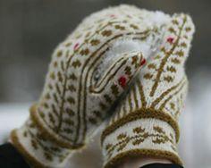 På lingonröda tuvor mitten pattern by Anna Kj Crochet Mittens, Mittens Pattern, Knitted Gloves, Knit Or Crochet, Knitting Socks, Hand Knitting, Knitting Patterns, Crochet Pattern, Free Pattern