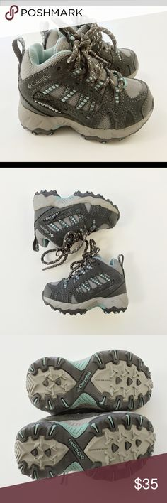 Columbia: Mid Omni Tech Hiking Boots.  New Columbia: Mid  Omni -Tech   Size: 6 Teal/Grey Hiking Boots - New Never worn  Youth trail shoes perfect for hiking. Waterproof, suede, breathable upper mesh. Locking bungee laces, cushioned footbed.  Wet traction rubber sole, helps keep traction on or off the hiking trail. This item offers the quality of Columbia products that will last long after your child has outgrown them.  **The hiking boots weigh 13.10 oz. They are solid quality hiking boots…