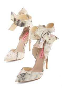 Your Greatest Chic-ness Heel by Betsey Johnson - High, Leather, Cream, Floral, Bows, Special Occasion, Prom, Wedding, Party, Bridesmaid, Darling, Best, Bride