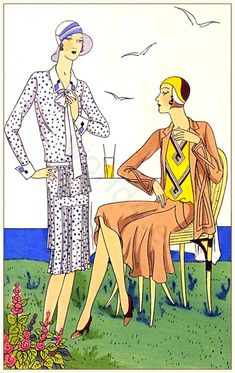 Couturiers Martial et Armand & Brandt. Art deco costumes. Flapper fashion. French 1920s clothing. Les créations parisiennes.