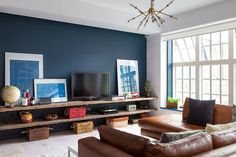 "Audrey's Cozy Industrial Soho Apartment (""Blue Feature wall and window highlights - Dulux Azure Fusion Navy Accent Walls, Accent Walls In Living Room, Cozy Living Rooms, New Living Room, Living Room Decor, Blue Feature Wall Living Room, Dulux Feature Wall, Living Area, Navy Blue Walls"