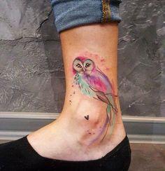 Adorable Little Owl Tattoo Ideas - Eulen - Tattoo Cute Tattoos, Beautiful Tattoos, Flower Tattoos, Body Art Tattoos, New Tattoos, Sleeve Tattoos, Tatoos, Green Tattoos, Maori Tattoos
