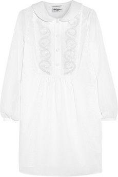 Saint Laurent Embroidered cotton-voile mini dress   THE OUTNET