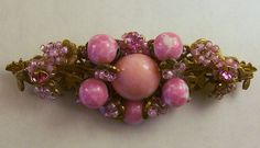 Vintage Signed Miriam Haskell Art Glass Pink Bead Pin/Brooch