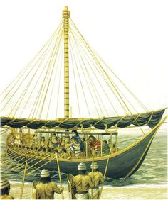 The legendary figure of THESEUS arrives at Crete with his black-sailed ship from Athens & his fellow Athenians to end the sacrifice and tribute of their lives to King Minos' Minotaur (Peter Connolly/Minoans/ Theran Ships/Plutarch/user: Aethon) Greek History, Ancient History, Ancient Greece, Ancient Egypt, Minoan Art, Bronze Age Civilization, Sea Peoples, Trojan War, Mycenaean