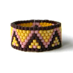Colorful peyote ring beaded ring beadwoven ring by HappyBeadwork