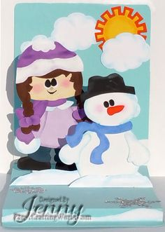 pop up card with paper crafting world and Karen Burniston pop up die, snowman, paper piecing, winter, Christmas card, layers, floating floor, kids, snowball,