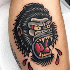 Traditional Style Tattoo, Traditional Tattoo Old School, Traditional Tattoo Gorilla, Pin Up Girl Tattoo, Girl Tattoos, Gorilla Tattoo, Gangsta Tattoos, Tatuaje Old School, Tattoo Sketches
