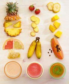 """Fruity-Galore-Smoothie, Island in the Sun und Jungle Power. Aus: """"Smoothies"""", TRIAS Verlag. ©Meike Bergmann, Berlin"""