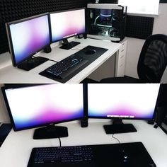 Winner of goes to Rokka with a very clean black/white setup. Those acoustic foams + Sexy PC did it for me. The only thing that really bothered me were the 2 different types of monitors, but nonetheless a fantastic and clean setup! Computer Setup, Gaming Setup, Gaming Computer, Gaming Chair, Pc Setup, Desk Setup, Diy Office Desk, Desk Dyi, Gamer Room