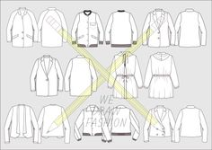 Our technical drawings are sold in sets on Etsy. This one is a selection of coats, jackets and blazers.Drawings are front and back view filled vectors created using the pen tool in Illustrator.Each folder contains an editable .ai Illustrator file  (saved in the latest Adobe CC, legacy CS4, and Illustrator 10 .eps formats so you can open in with whichever version of illustrator you have)Happy Drawing!