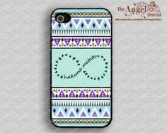 Hakuna Matata, infinity & Aztec iPhone 4 Case, iPhone 4s Case, iPhone 4 Hard Plastic Case,Personalized iPhone Case--water proof