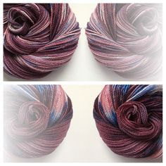 SNUZZBERRIES ~ Hand-dyed yarn, Made in the USA Color(s): deep burgundy, sapphire blue, cream, red (I use only professional grade dyes)  Fiber(s): 100% mountain merino  Weight: sock/fingering, 2 ply  Length/yardage: 400 yards  Care instructions: hand wash, lay flat to dry #yarnbaby