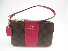 Coach F64233 Signature PVC Leather Corner Zip Wristlet Brown Pink Ruby ** Click on the image for additional details. (This is an Amazon affiliate link)