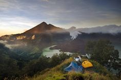 Segara Anak Lake on Mount Rinjani, West Nusa Tenggara - Indonesia Places Around The World, The Places Youll Go, Great Places, Beautiful Places, Places To Visit, Adventure Awaits, Adventure Travel, Bali, Lombok