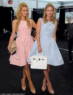 Paris and Nicky Hilton don matching outfits to Dennis Basso show