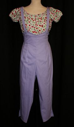 Dungaree high waist vintage 1950s inspired capri pants in lilac stretc - Di Brooks