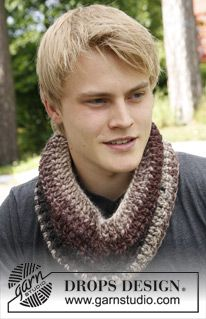 "DROPS Extra 0-971 - Crochet DROPS neck warmer for men in ""Eskimo"". - Free pattern by DROPS Design"
