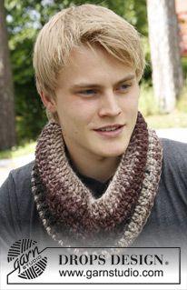 """Crochet DROPS neck warmer for men in """"Eskimo"""". ~ DROPS Design"""