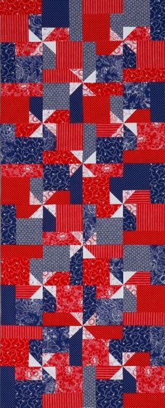 Make pinwheels pop on a patriotic table topper using red, white, and blue print fabrics.
