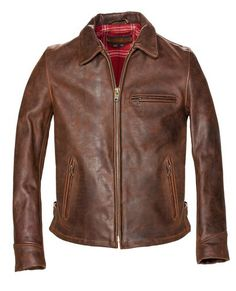 Men's heavyweight oiled nubuck cowhide biker jacket has a wool plaid lining, three zipper front pockets, bi-swing back, and side belt tabs. Stylish Jackets, Cool Jackets, Casual Jackets, Men's Jackets, Jackets Online, Brown Leather Jacket Men, Leather Men, Leather Jackets, Vintage Leather