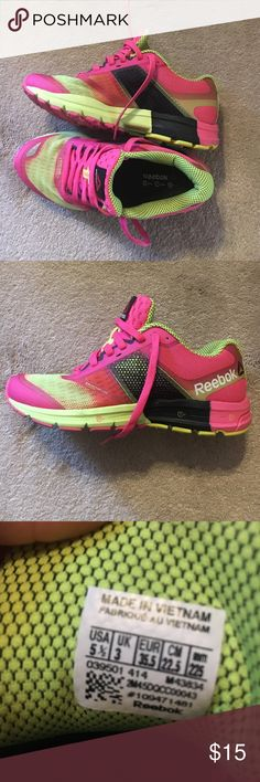 REEBOK-WOMENS tennis shoes REEBOK-pink and yellow tennis shoes. WOMENS size 5 1/2. Barely worn!  Great condition!! Reebok Shoes Sneakers