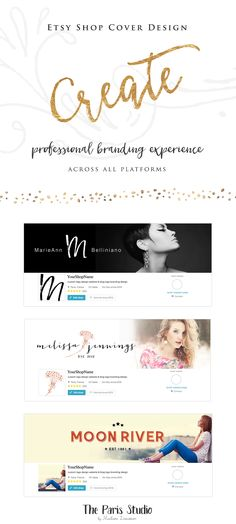 WordPress Website Header Design (Blog Header, Twitter & Facebook Cover Design, Etsy Shop Cover Design) - website branding for creative business by The Paris Studio, Madame Levasseur